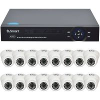 Sistem supraveghere analogic U.Smart D1-316 V2, AHD, HD 720p, 16 camere Dome UD-405, Interior