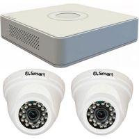 Sistem supraveghere analogic Hikvision DS-7104HGHI-F1, TVI, HD 720p, 2 camere Dome UD-504, Interior