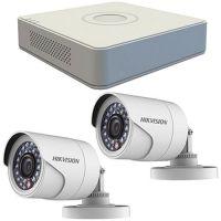 Sistem supraveghere analogic Hikvision DS-7104HGHI-F1, TVI, HD 720p, 2 camere Bullet DS-2CE16C0T-IRP, Exterior