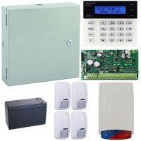 Kit antiefractie Secolink KIT-SEK-4, Centrala efractie 16 zone + tastatura + cutie + 4 detectori + sirena exterior + acumulator