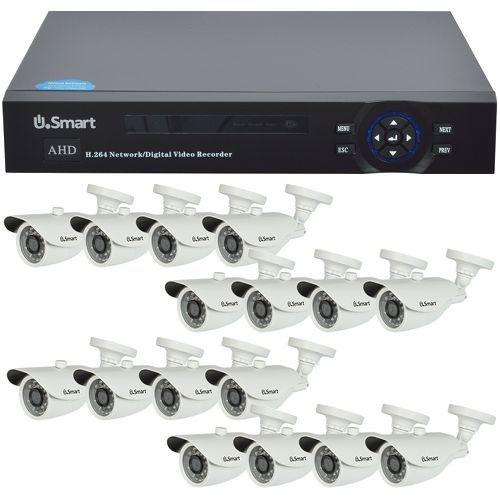 Sistem supraveghere analogic U.Smart D1-316 V2, AHD, HD 720p, 16 camere Bullet UB-407, Exterior
