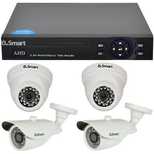 Sistem supraveghere analogic U.Smart US-D1404-UMX, AHD, Rezolutie 1MP, DVR 4 canale, 4 camere mixte (Int/Ext)