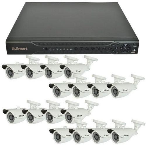 Sistem supraveghere analogic U.Smart D1-416, AHD, HD 720p, 16 camere Bullet UB-407, Exterior