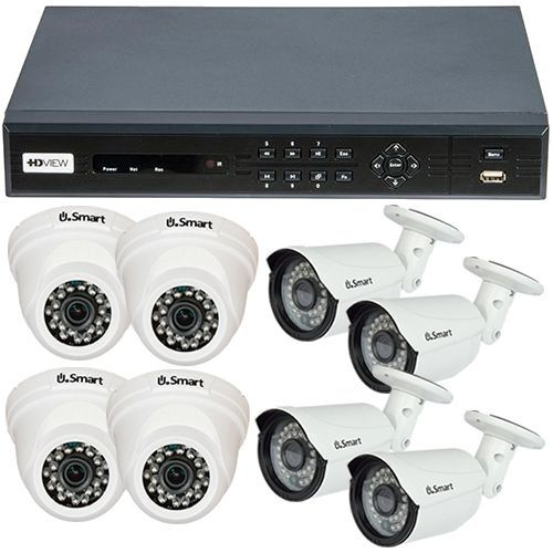 Sistem supraveghere analogic HD VIEW Interior/Exterior, TVI 720p, 4 camere Dome + 4 camere Bullet