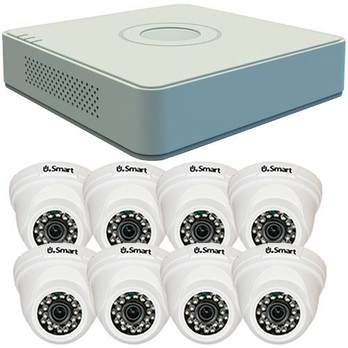 Sistem supraveghere analogic Hikvision DS-7108HGHI-F1, TVI, HD 720p, 8 camere Dome UD-504, Interior