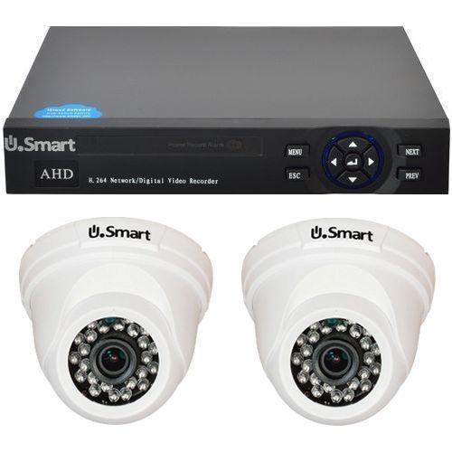 Sistem supraveghere U.Smart D1-404, AHD, Full HD 1080p, 2 camere Dome UD-424, Interior