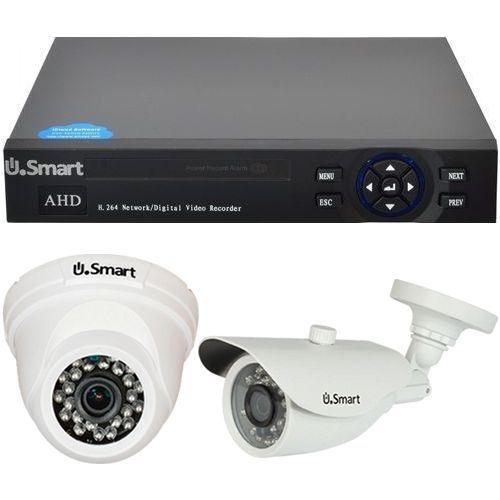 Sistem supraveghere U.Smart D1-404, AHD, Full HD 1080p, 2 camere mixte