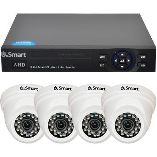 Sistem supraveghere U.Smart D1-404, AHD, Full HD 1080p, 4 camere Dome UD-424, Interior