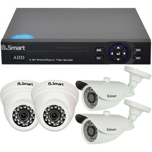 Sistem supraveghere U.Smart D1-404, AHD, Full HD 1080p, 4 camere mixte