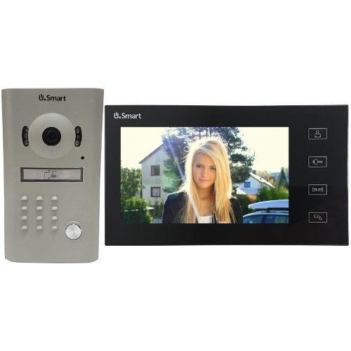 Kit Videointerfon U.Smart USM2307B Negru, Post exterior camera color si IR + post interior cu ecran color 7 inch