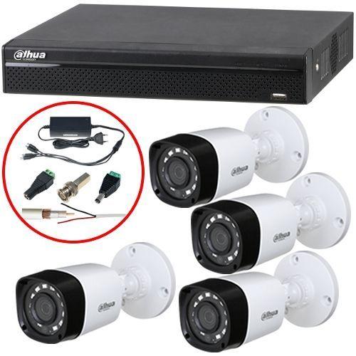 Sistem supraveghere Dahua XVR4104HS, 4x Bullet HAC-HFW1000R, HD 720p, Exterior, 3.6mm, Include accesorii