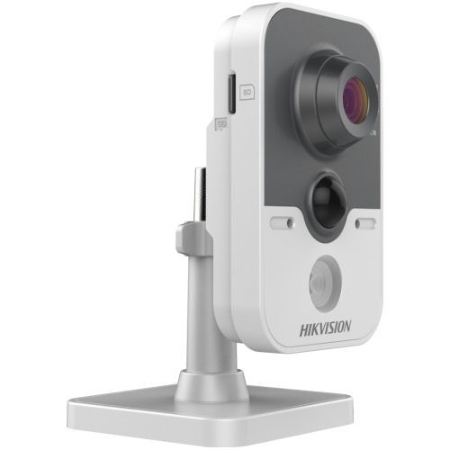 Camera de supraveghere Hikvision DS-2CD2410F-I, IP, Cube, 1MP, 6mm, 1 LED, IR 10m, D-WDR, H.264, PoE .3af, Alarm I/O, Two-Way Audio, PIR 10m, Heartbeat