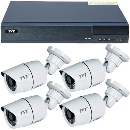 Sistem supraveghere TVT TD-2704TS-CL, 4 x TD-7411TSL, TVI 720p, Bullet, 3.6mm