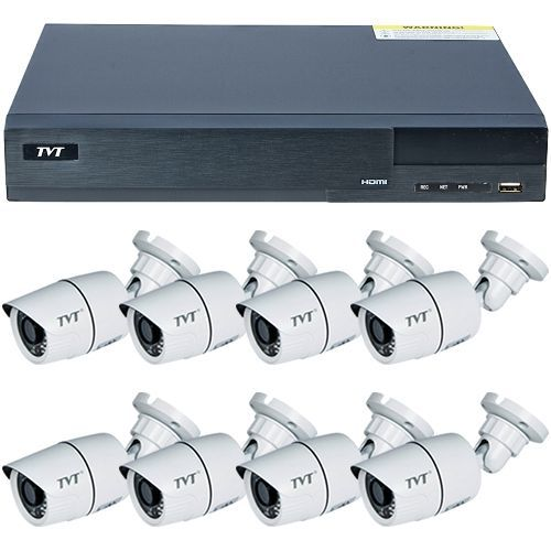 Sistem supraveghere analogic TVT TD-2708TS-CL, 8 x TD-7411ASL, AHD 720p, Bullet, 2.8mm