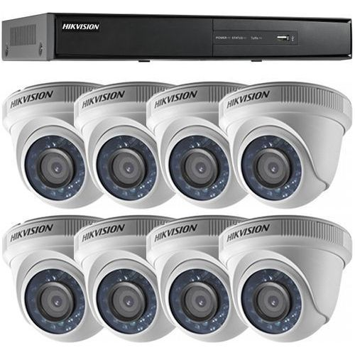 Sistem supraveghere Hikvision DS-7208HQHI-F2/N/A + 8 camere Dome DS-2CE56D0T-IRP, TVI, Full HD 1080p, Interior