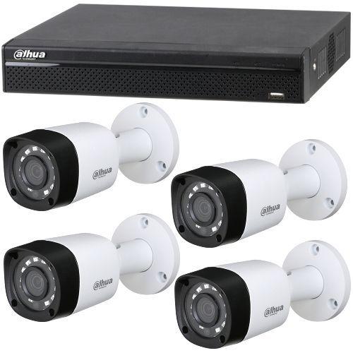 Sistem supraveghere analogic Dahua XVR4104HS, 4x Bullet HAC-HFW1100RM, HD-CVI, HD 720p, Exterior, 3.6mm