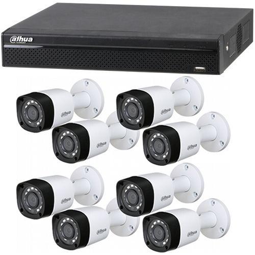 XVR5108HS, 8x Bullet HAC-HFW1200RM, HD-CVI, Full HD 1080p, Exterior, 3.6mm