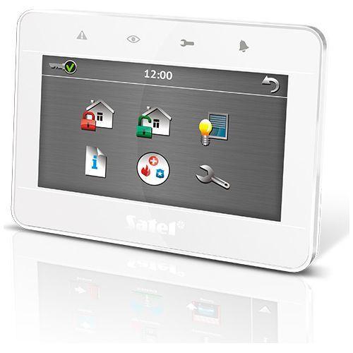 Tastatura alarma Satel INT-TSG-WSW, Touchscreen 4.3 inch, Compatibila INTEGRA/VERSA, Alb