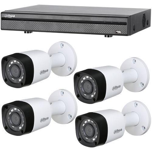 Sistem supraveghere analogic Dahua HCVR7104H-4M, 4x Bullet HAC-HFW1400R, HD-CVI 4MP, Exterior, 3.6mm