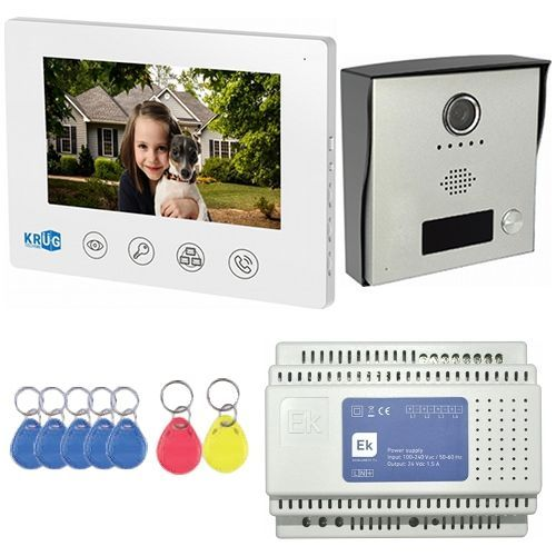 Kit Videointerfon KR-VDP72K, Post exterior camera color, Post interior LCD 7 inch, Sursa alimentare