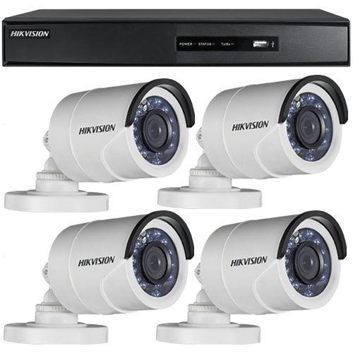 Sistem supraveghere analogic Hikvision DS-7204HGHI-SH, TVI, Full HD 1080p, 4 camere Bullet DS-2CE16D0T-IRPF