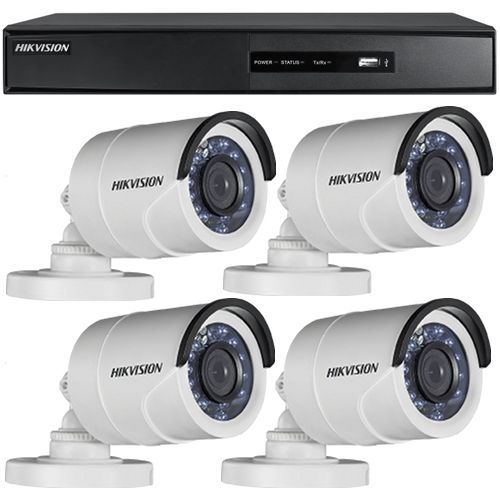 Sistem supraveghere analogic Hikvision DS-7204HGHI-SH, TVI, HD 720p, 4 camere Bullet DS-2CE16C0T-IRP