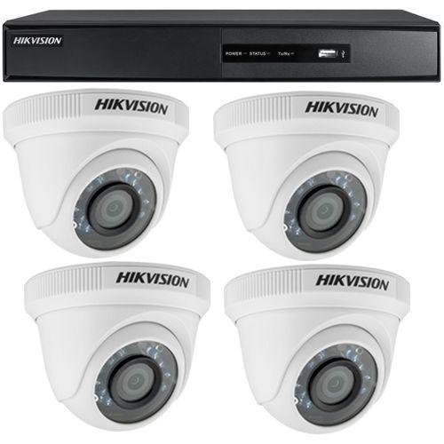 Sistem supraveghere analogic DS-7204HGHI-SH, TVI, HD 720p, 4 camere Dome DS-2CE56C0T-IRP
