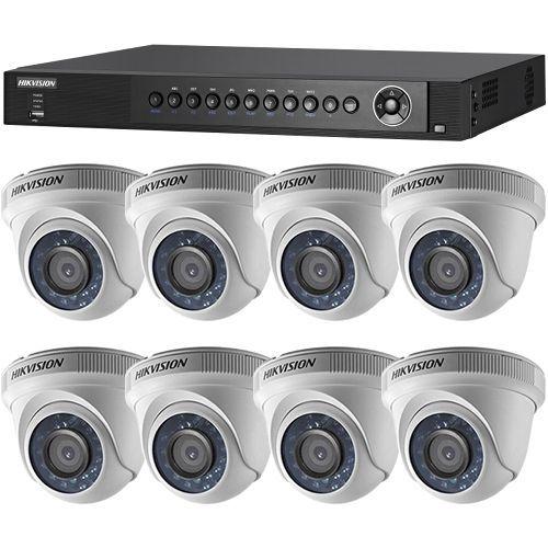 Sistem supraveghere analogic DS-7208HQHI-SH/A, TVI, Full HD 1080p, 8 camere Dome DS-2CE56D0T-IRPF