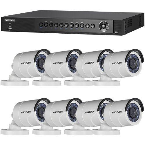 Sistem supraveghere analogic DS-7208HQHI-SH/A, TVI, Full HD 1080p, 8 camere Bullet DS-2CE16D0T-IRPF
