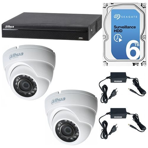 Sistem supraveghere analogic Dahua XVR4104HS + 2 Camere Dome 720p + HDD 6TB, KIT Statii ITP