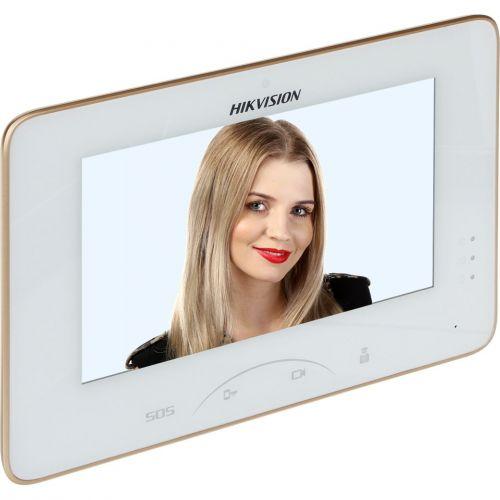 Monitor videointerfon Hikvision DS-KH8300-T, Ecran LCD 7'', TouchScreen, Retea, Alb
