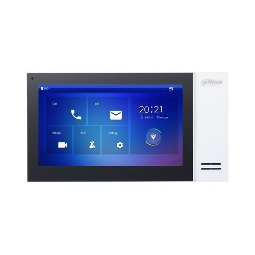 Monitor videointerfon Dahua VTH2421FW-P, IP touch screen 7 inch 1024x600, IPC surveillance, Audio bidirectional, Alarma 6/1, SD 8GB, PoE, alb