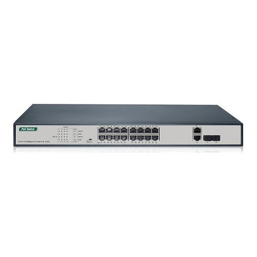 Switch IP View IW3020FSN, 16 porturi 10/100Mbps + 2G Combo TP/SFP, PoE, 250W