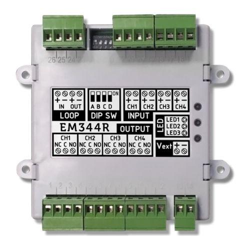 Accesoriu detectie incendiu INIM EM340, Modul adresabil 4 intrari supervizate