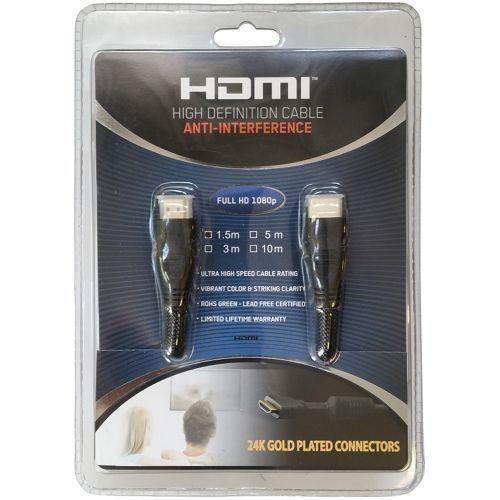 Cablu HDMI Kabelwelt Lungime 1.5m, HDMI 1.4, Braided, Blister, Conectori auriti, Negru