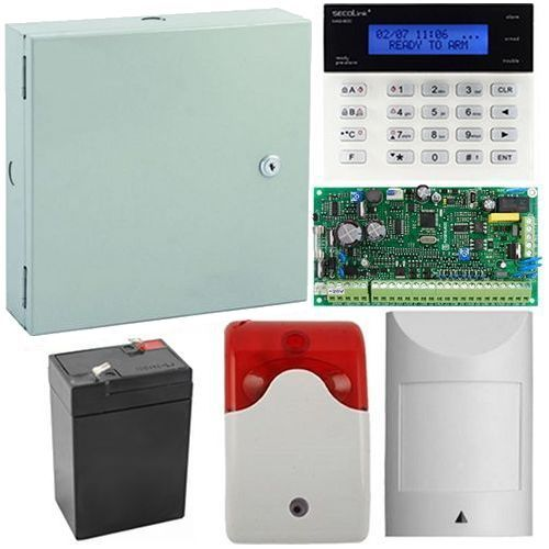 Kit antiefractie Secolink PAS816+K1, Centrala efractie Secolink 16 zone + tastatura + cutie + acumulator + detector miscare + sirena interior