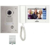 Kit Videointerfon Aiphone JPS-4AEDF, Post exterior JP-DVF + Monitor Touch JP-4MED + Alimentare PS-2420UL