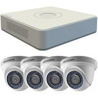Sistem supraveghere analogic DS-7104HGHI-F1 + 4 camere Dome DS-2CE56C0T-IRPF, TVI, HD 720p, Interior