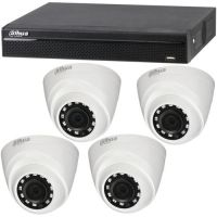 XVR4104HS, 4x Dome HAC-HDW1100R, HD-CVI, HD 720p, Interior, 3.6mm
