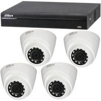 Dahua XVR4104HS, 4x Dome HAC-HDW1100R, HD-CVI, HD 720p, Interior, 3.6mm