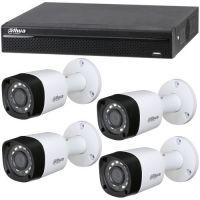 XVR4104HS, 4x Bullet HAC-HFW1100RM, HD-CVI, HD 720p, Exterior, 3.6mm