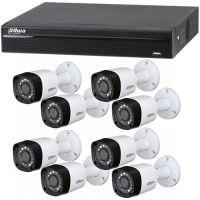 XVR4108HS, 8x Bullet HAC-HFW1100RM, HD-CVI, HD 720p, Exterior, 3.6mm