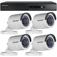 DS-7204HGHI-SH, TVI, Full HD 1080p, 4 camere Bullet DS-2CE16D0T-IRPF