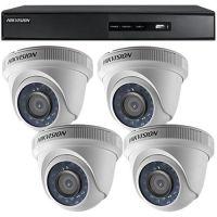 Sistem supraveghere analogic DS-7204HGHI-SH, TVI, Full HD 1080p, 4 camere Dome DS-2CE56D0T-IRPF