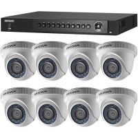 DS-7208HQHI-SH/A, TVI, Full HD 1080p, 8 camere Dome DS-2CE56D0T-IRPF
