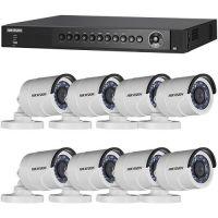 DS-7208HQHI-SH/A, TVI, Full HD 1080p, 8 camere Bullet DS-2CE16D0T-IRPF