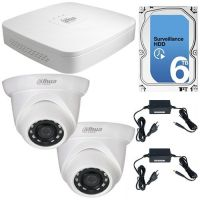 Kit IP Dahua NVR2104-S2 + 2 Camere Dome 1080p + HDD 6TB, KIT Statii ITP